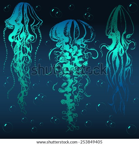 Hand drawn jellyfish. Abstract graphic illustration of jellyfishes and bubbles in vector. - stock vector