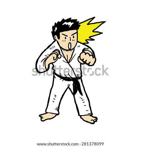 hand drawn karate - stock vector