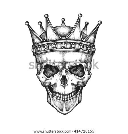 Hand drawn king skull wearing crown. Vector illustration - stock vector
