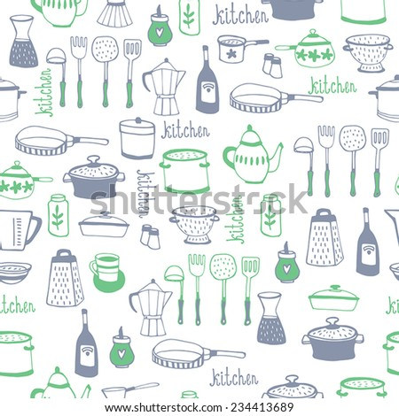 Hand drawn kitchen background.seamless pattern - stock vector