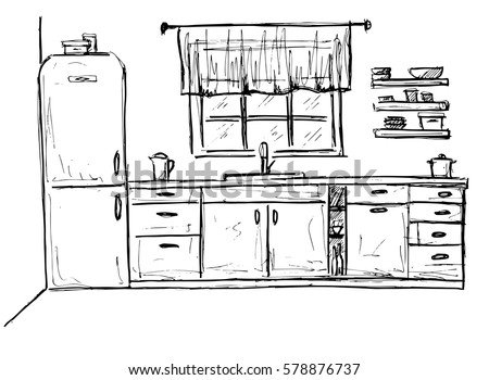 Hand drawn kitchen furniture sketch vector stock vector for Sketch furniture online