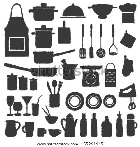 Hand drawn kitchen silhouette icons - stock vector