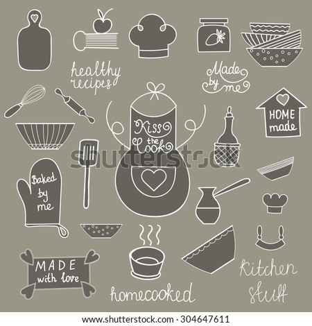 Hand drawn kitchen tools set Kitchen utensils isolated Kitchen equipment collection Kitchen doodles Kitchen silhouette Kitchen background Home made food symbols of Apron, spatula, cook hat, soup bowl - stock vector