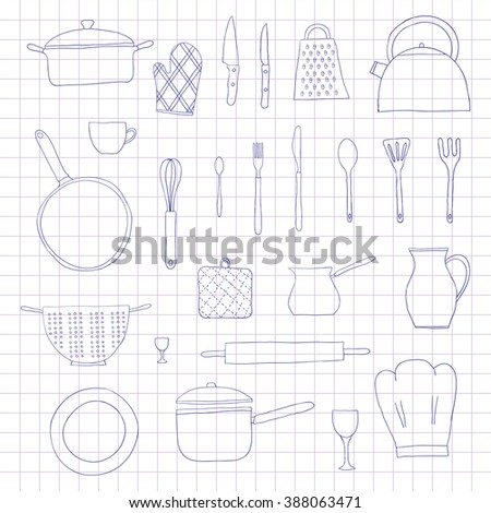 Hand drawn kitchen utensils isolated on graph paper. Teapot, chef hat, spoon, spatula, knife, bowl, grater, saucepan, plate, colander, potholder. - stock vector
