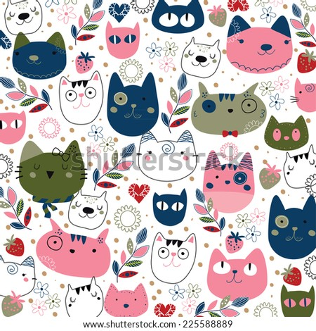 hand drawn kitty cat wallpaper illustration - stock vector