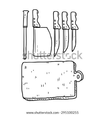 hand drawn knife and cutting board - stock vector