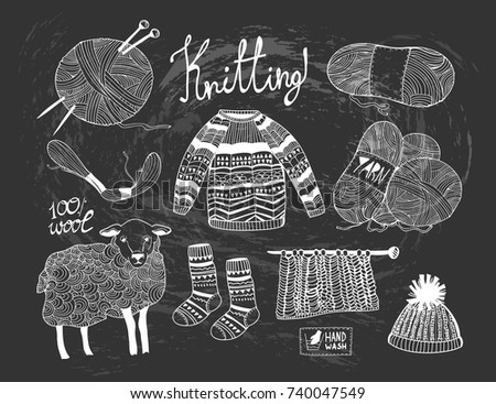 Hand drawn knitting elements. Graphic vector set. Chalkboard style. All elements are isolated