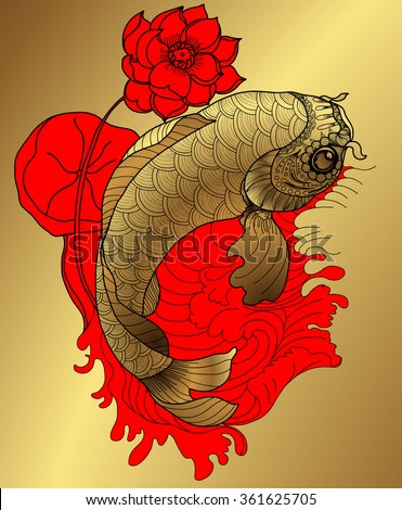 hand drawn koi fish in circle,gold Japanese carp line drawing coloring book vector image
