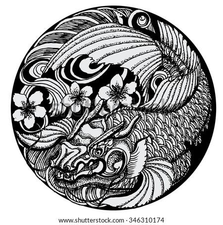 Hand Drawn Koi Fish Circle Japanese Stock Vector 346310174