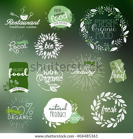 Hand drawn labels and elements collection for organic food and drink, natural products, restaurant, healthy food market and production, on the nature background. Vector illustrations. - stock vector