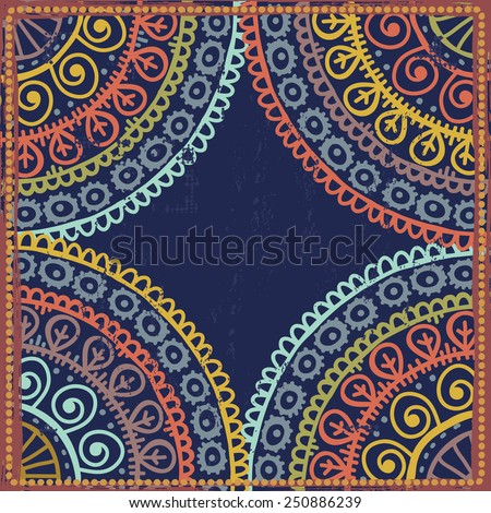 Hand drawn  lace ethnic frame in blue tones. All objects are conveniently grouped  and are easily editable. - stock vector