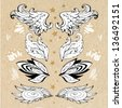 Hand Drawn  Lace Oriental wings collection with paper background. - stock photo