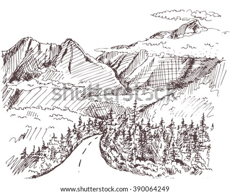 Hand drawn landscape with fir forest and mountains. vintage illustration