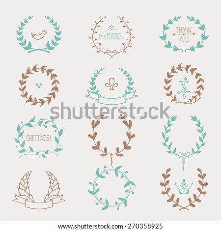 Hand drawn laurels and wreaths: vector set of circular floral frame silhouettes with copy space for your text. Design element for wedding invitations, birthday, Valentine's greeting cards. - stock vector