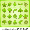 hand drawn leaf ,tree,eco icons - stock vector