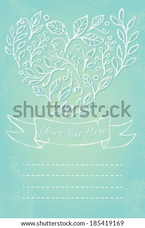 Hand-drawn leaves and branches in shape of heart and ribbon on blue background with splatters. Invitation or notebook cover template.