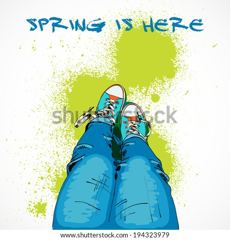 Hand drawn legs in colored funky gumshoes spring is here poster vector illustration - stock vector