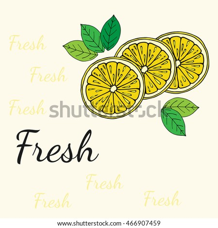 Hand drawn lemon colorful slices with leaves and sign Fresh on background.  EPS 8