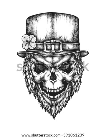 Hand drawn leprechaun skull wearing Irish hat with lucky four leaf clover. Saint Patricks Day. Vector illustration