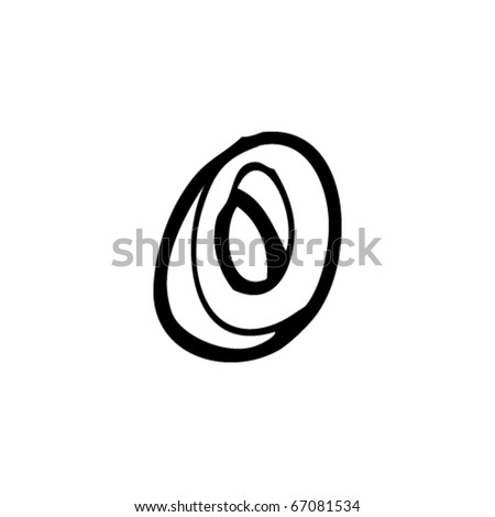 hand drawn letter o - stock vector