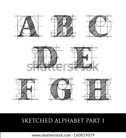 hand drawn letter set with rules and guidelines - stock vector
