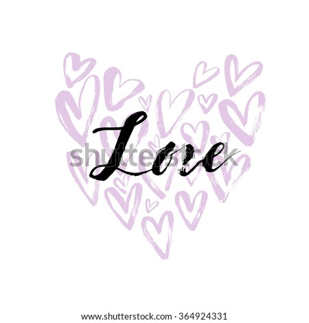 Hand drawn lettering with hearts element for Valentines day. Hand drawn modern brush calligraphy. Vector art. Ink illustration. Romantic card.