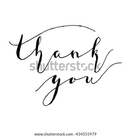 Hand drawn lettering with words Thank you. Typography poster, Ink brush calligraphy  for decoration, bag, t-short, invitation, banners.  Vector Illustration isolated on white background. - stock vector