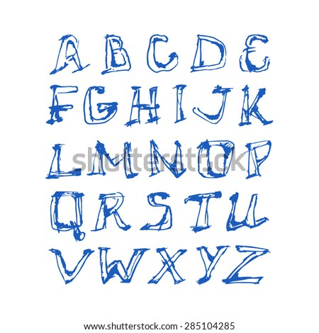 hand drawn letters and numbers of latin alphabet