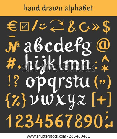 Hand drawn letters and numbers. Vector alphabet of the written with a watercolor brush - stock vector