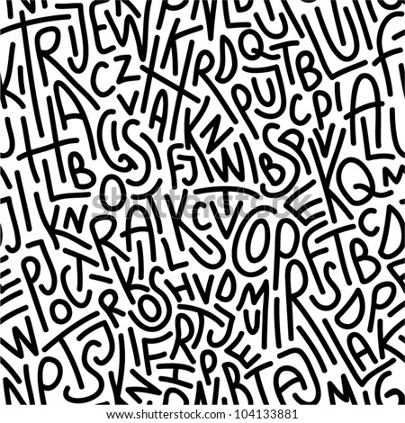 Hand drawn letters seamless pattern. - stock vector