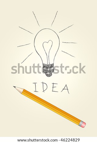 Hand-drawn light bulb and pencil, vector illustration