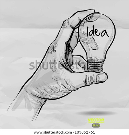 Hand drawn light bulb with IDEA word on crumpled paper as concept  - stock vector