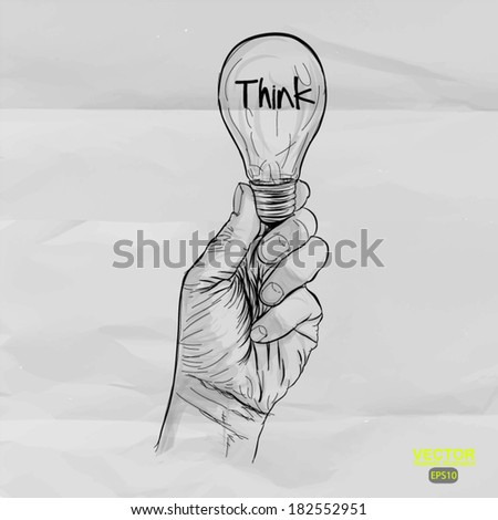 Hand drawn light bulb with THINK word on crumpled paper as concept - stock vector