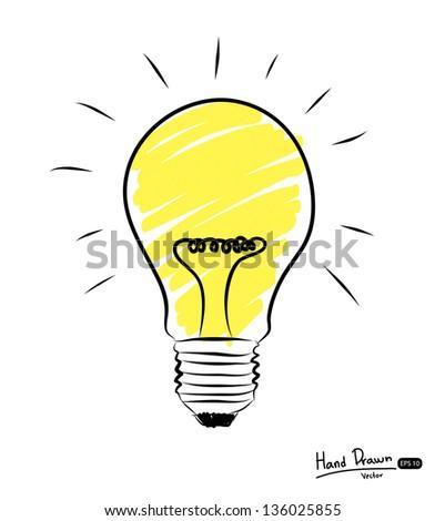 Hand-drawn light bulbs, symbol of ideas ,Vector illustration. - stock vector