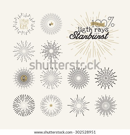 Hand drawn light rays and starburst design elements. Collection of sunburst vintage style elements and icons for label and stickers.     - stock vector