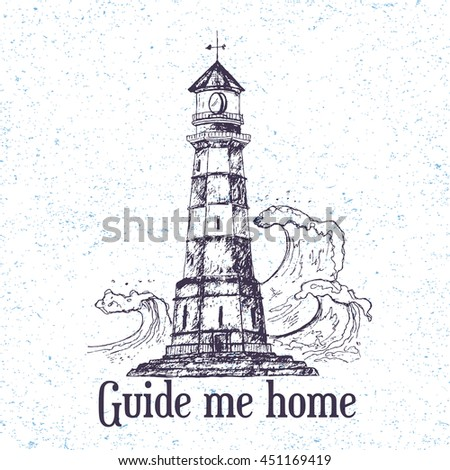 Hand drawn lighthouse with sea waves. Vector illustration isolated on vintage background. Detailed drawing in line art graphic style. Tattoo sketch, textile print, brochure, card design. - stock vector