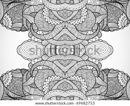 Hand drawn line art in totem shape. - stock vector
