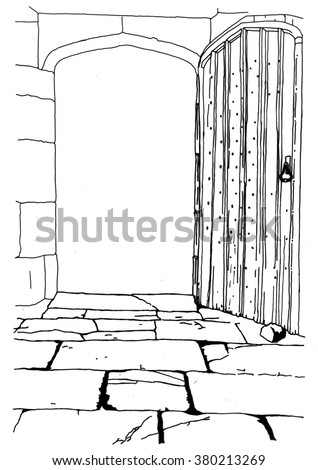 Hand drawn line drawing of wooden gate leading into garden - stock vector