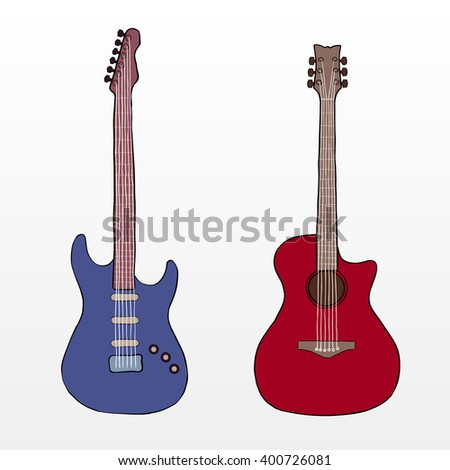 Hand drawn line electric and acoustic guitar. Colorful guitar instrument - stock vector
