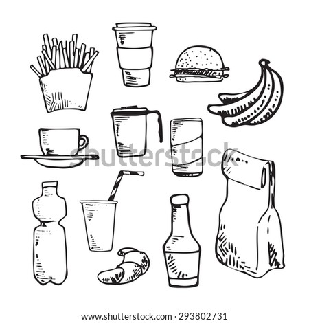 Hand drawn line fast food.Ink doodle sketches. - stock vector