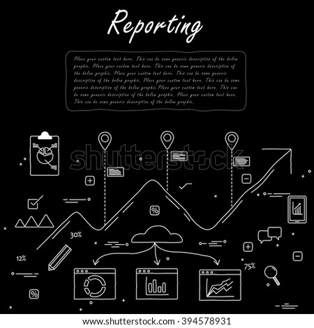 hand drawn line vector doodle concept of career growth, company and employees in black white. also represents selecting candidates, promotion, corporate ladder, networking, human resource management - stock vector