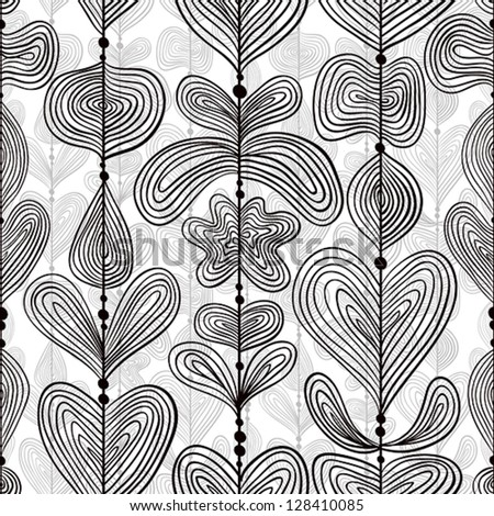Hand drawn lines seamless pattern, vector background. - stock vector