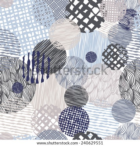 Hand drawn lines textures messy seamless pattern, vector hand drawn background. - stock vector
