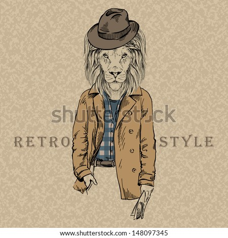 Hand Drawn Lion, Retro Style, City Style, Hipster Look, Vector Illustration - stock vector