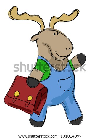 hand drawn little elk going to school, vector illustration - stock vector