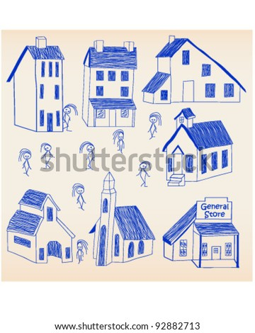 Hand Drawn Little Town Icon Set vector is eps10 - stock vector