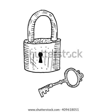 lock and key drawing. Wonderful And Hand Drawn Lock And Key Vector Sketch Intended Lock And Key Drawing Y