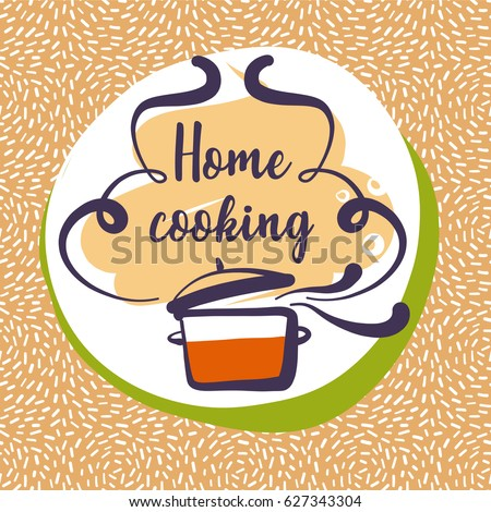 Handdrawn logo delicious homemade food recipe vector de hand drawn logo for delicious homemade food recipe home cooking logotype forumfinder Images