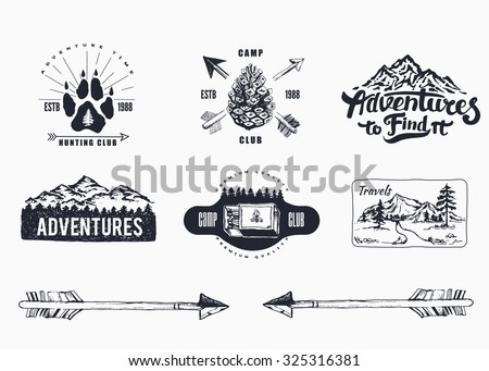 Hand-Drawn logo set. Retro collection of outdoor company, camping, adventure labels. Old style elements, mountain, lettering  - stock vector