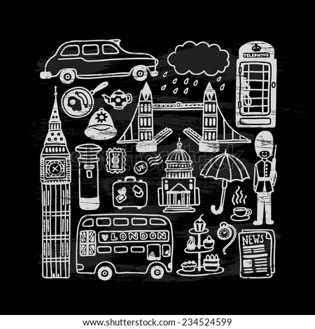hand-drawn London doodles set on chalkboard - stock vector